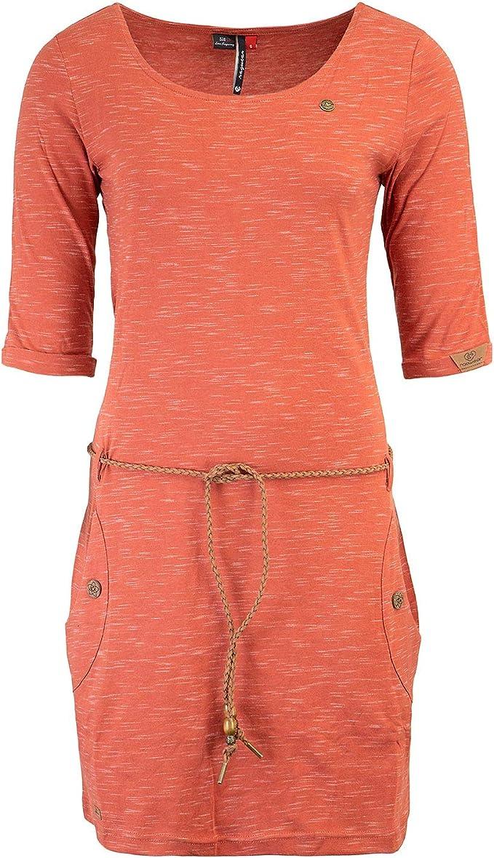 Ragwear Damen Kleid Minikleid Shirtkleid Jerseykleid Gürtel Tanya Slub