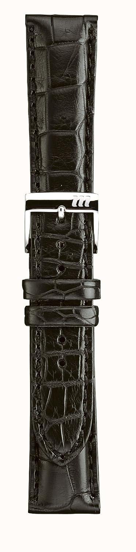 ミランツェ 紳士皮革バンド 時計際幅 18mm 美錠幅 16mm 艶消し黒 ステッチ入り クロコダイル腹  B01M31Y5IZ