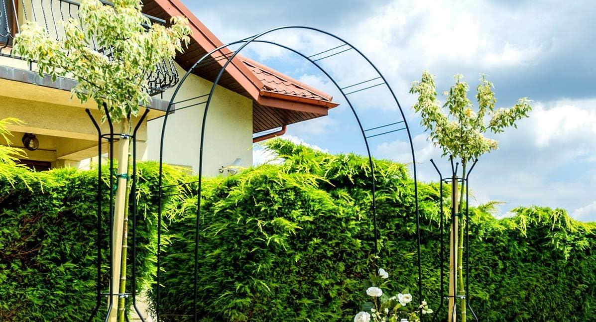 wetterfest Gartenlaube Deko Pergola KADAX Rosenbogen Rosen Torbogen Garten pulverbeschichteter Stahl Gartenbogen f/ür Kletterpflanzen Rankhilfe Schwarz 40 x 150 x 256 cm Spalier