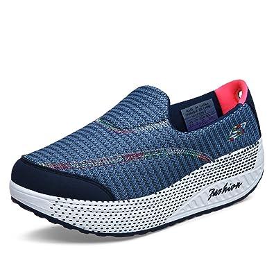 CMEI-RX915shenlan36 Women's Slip-On Platform Walking Shoes Mesh Elevator  Shape Ups Fitness Sneakers