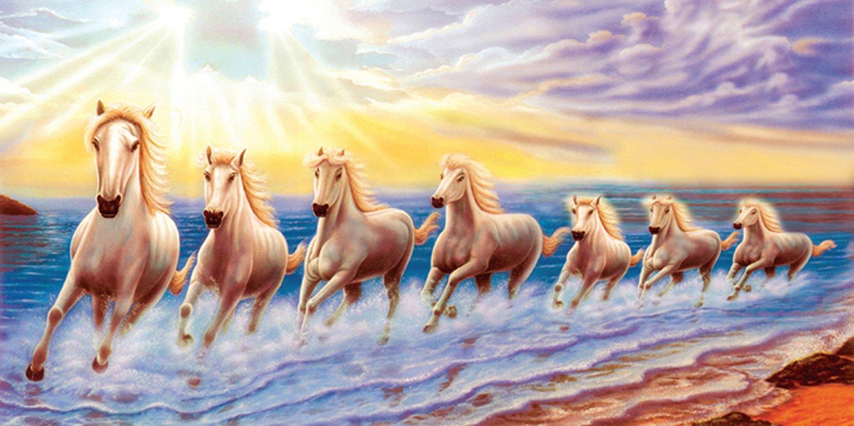 White 7 Horse Running Vastu Poster Wallpaper By Include