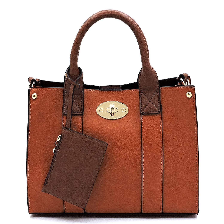 Tan Vegan faux leather Mini handbag + Crossbody purse + Flat pouch 3 pcs set