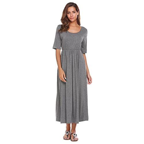 Meaneor Womens 3 4 Sleeve Solid Plus Maxi Long Dress with Elastic Waistband