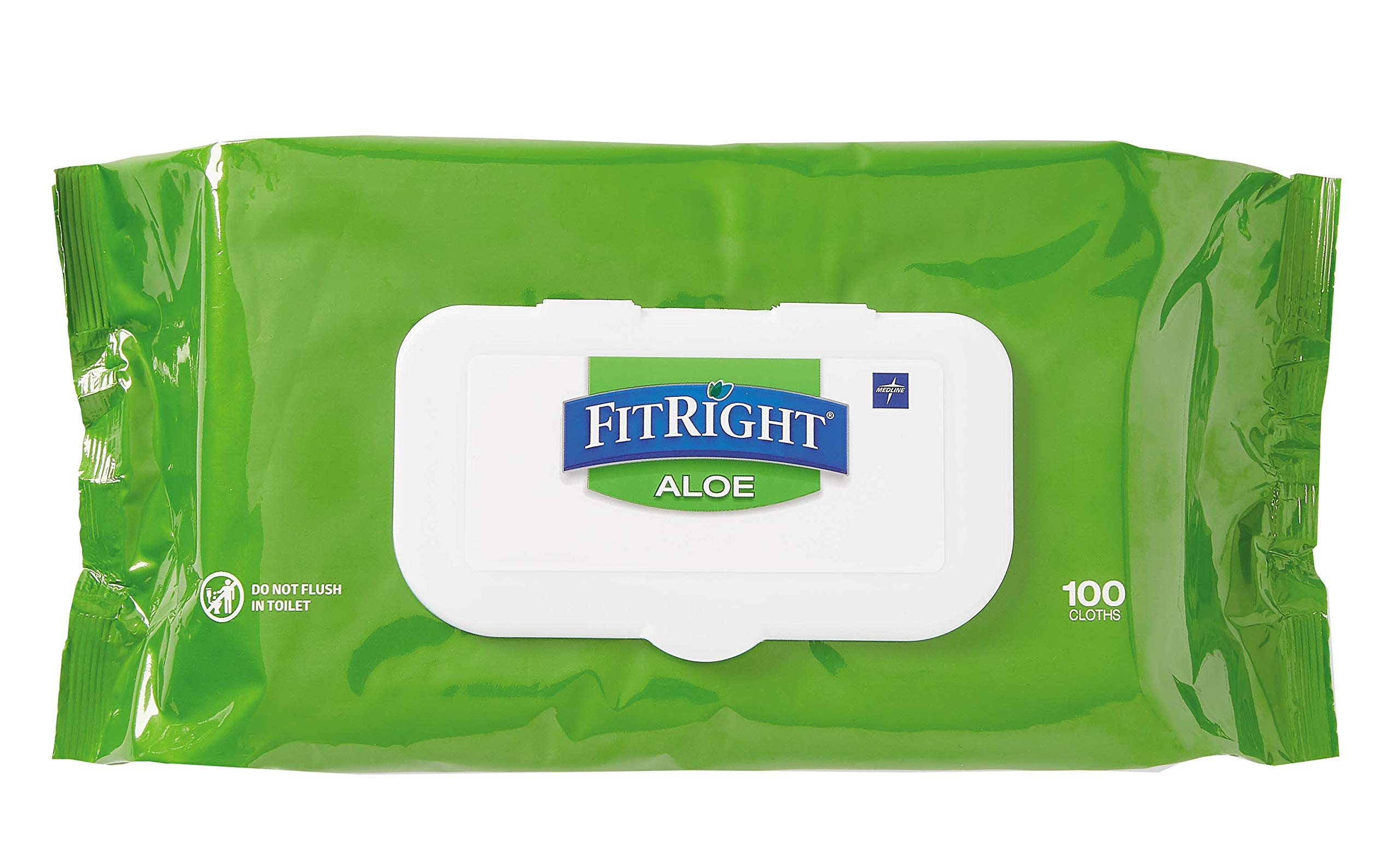 FitRight Aloe Personal Cleansing Cloth Wipes, Unscented, 600 Count, 8 x 12 inch Adult Large Incontinence Wipes by Medline