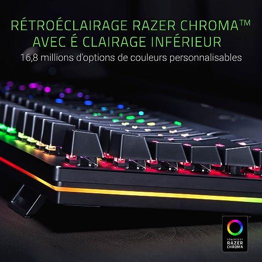 Razer Huntsman Elite Teclado mecánico para juegos con interruptores optomecánicos lineales, control giratorio funcional, reposamanos iluminado, ...