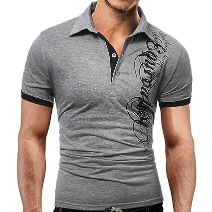 Camisas Hombre ❤️Amlaiworld Blusa de manga corta de moda para hombres Camiseta de impresión informal
