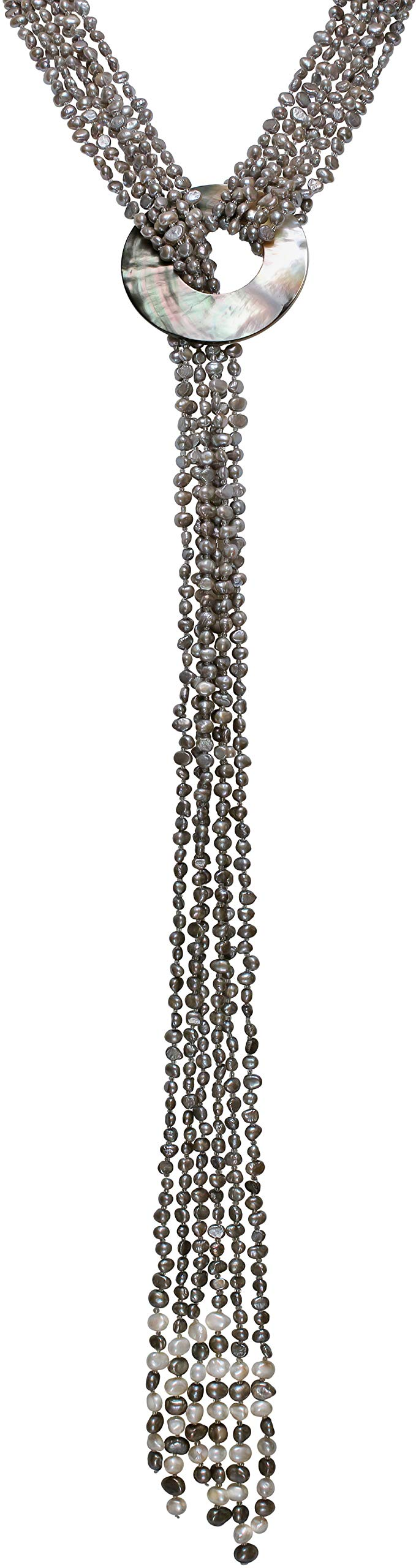 HinsonGayle 'Cleopatra' 6-Strand Silver Gray Cultured Freshwater Pearl & Shell Lariat Y Necklace-35 in Length by HinsonGayle Fine Pearl Jewelry