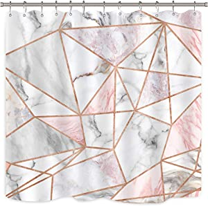Riyidecor Geometric Marble Pink Stripes Shower Curtain Surface Blocks Cracked Pattern Lines White Panel Realistic Art Printed Fabric Waterproof Bathtub Decor 12 Pack Plastic Hooks 72x72 Inch