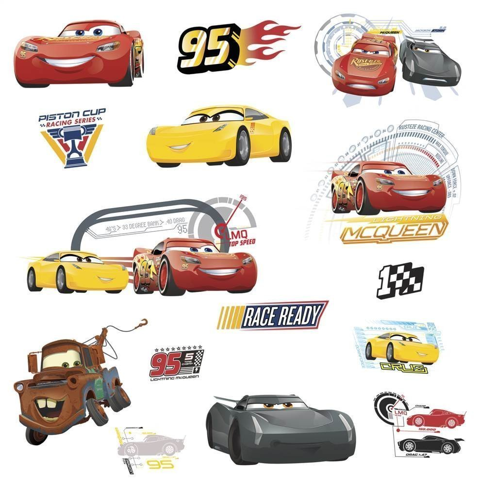 RoomMates RMK3353SCS Disney Pixar Cars 3 Peel & Stick Wall Decals York Wallcoverings