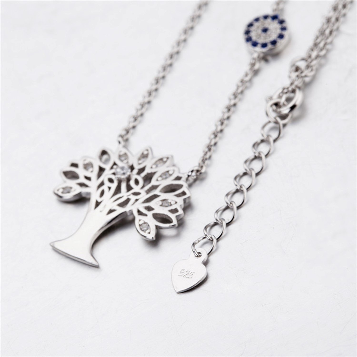 CS-DB Silver Necklaces Pendants Tree of Life Cubic Zirconia Top Stylish