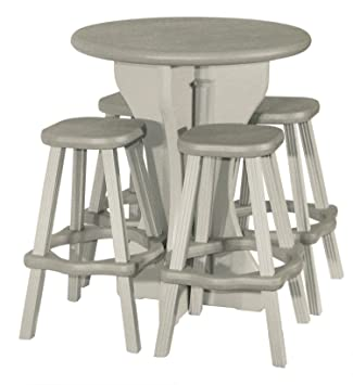 Awesome Leisure Accents Bistro Set, 30 Inch Round With 4 Stools, Gray/Beige