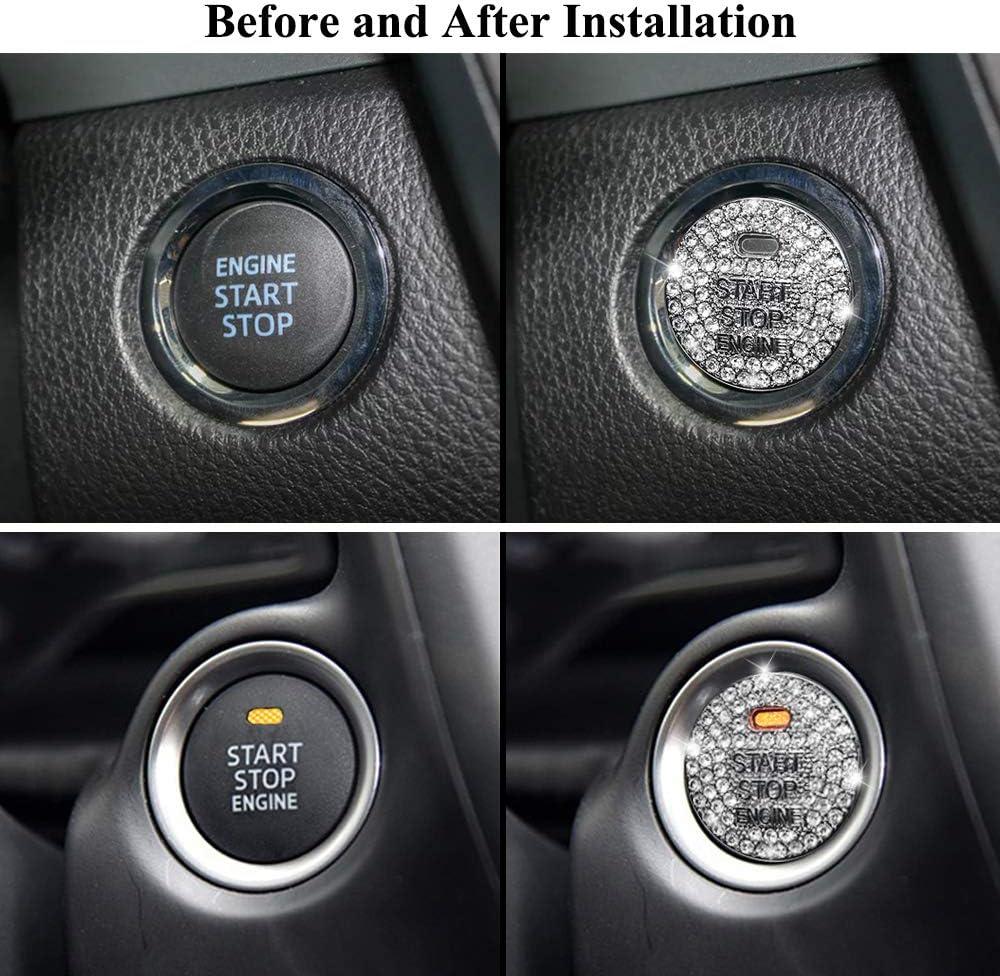 Senauto Bling Engine Push Start Stop Button Cover for Toyota Camry Corolla C-HR RAV4 Prius Tacoma TRD Yaris Highlander Land Cruiser 4Runner Toyota 86