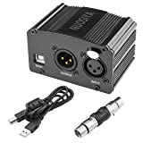 NUOSIYA 1-Channel 48V Phantom Power Supply with 6 feet USB Cable, XLR Adapter+XLR 3 Pin Microphone Cable for Any Condenser Microphone Music Recording Equipment (Color: Black)