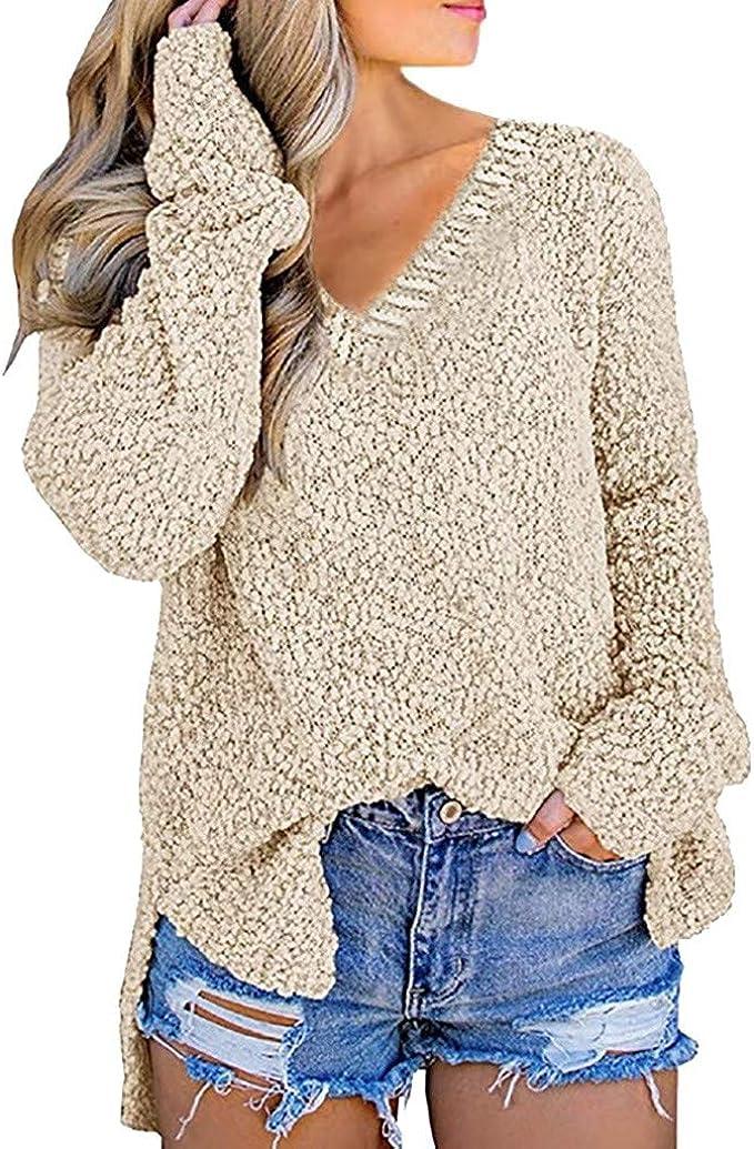 Donna Caldo Manica Lunga Maglione Scollo a V Pullover Top Sciolto Camicetta