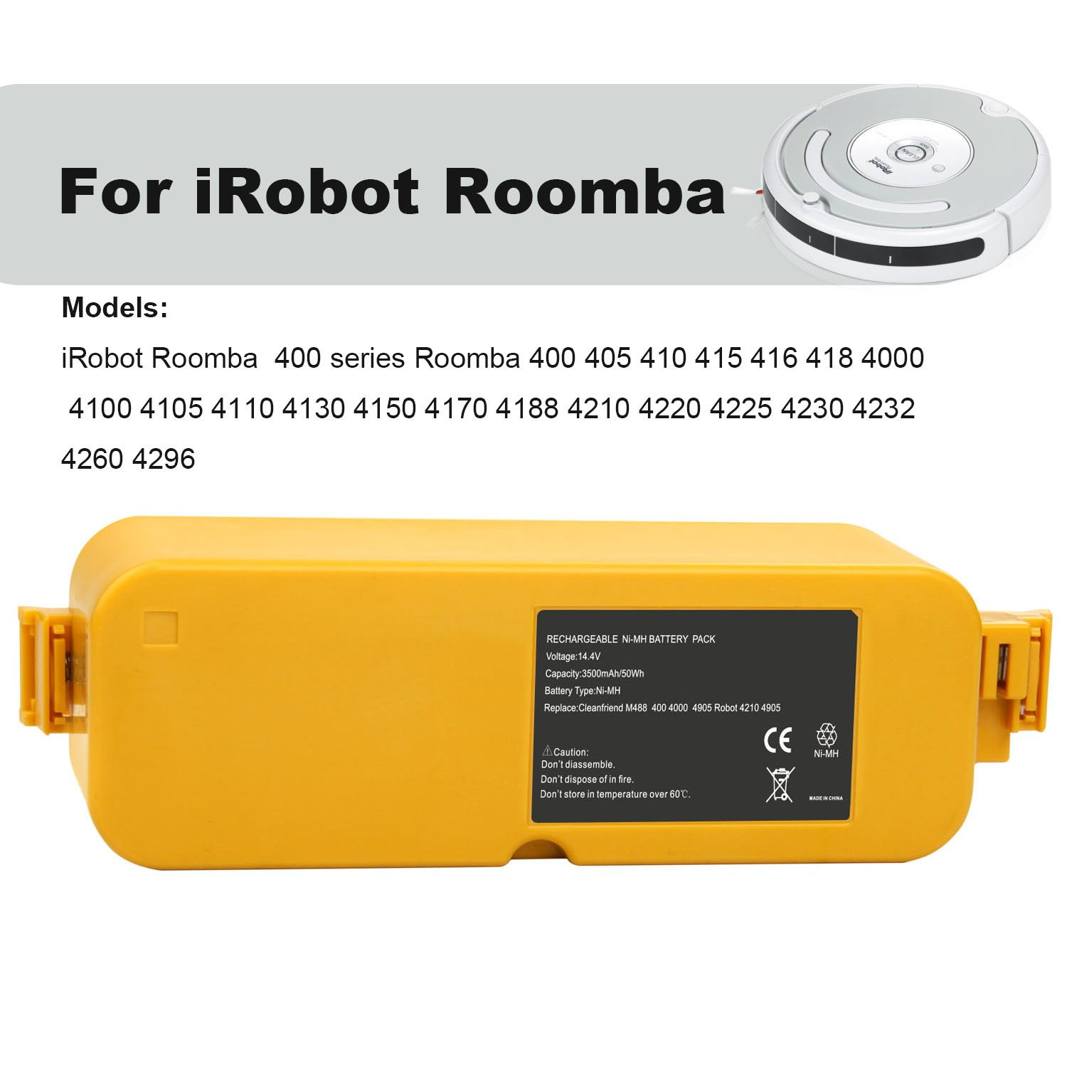 Amazon.com - Fancy Buying 14.4V 3500mAh Cordless Vacuum Cleaner Battery for  iRobot 400 series, Roomba 4905 APS Battery - Household Robotic Vacuums