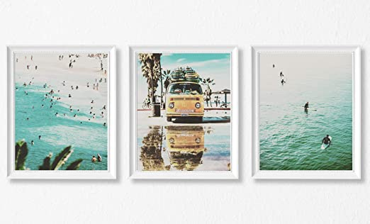 Surf Beach Quotes Ocean 100/% cotton Canvas Quality print wall art Home Decore