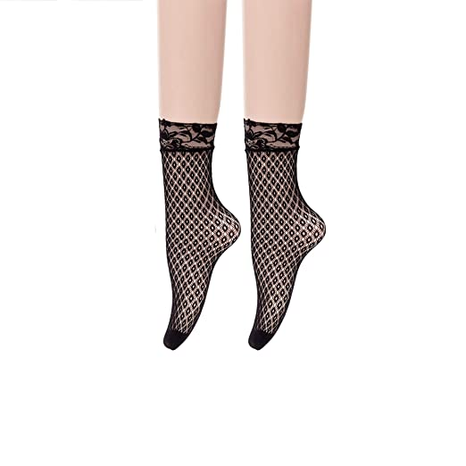 ef9cb3b86a456 Women's Fishnet Socks Ankle Dress Hollow Out Socks High Nylons Multi Colors  2 pack