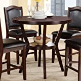 Espresso Solid Wood Round Counter Height Dining Table by Poundex