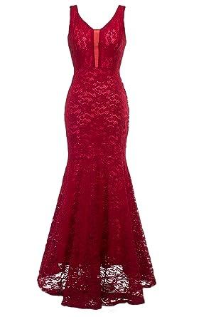 sekitoba-japan.inc Womens Romantic Sexy Lace Floor Length V-Neck Evening Prom Dress at Amazon Womens Clothing store:
