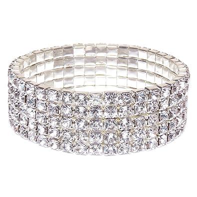 574d90157685d Oussum Swarovski Element Austrian Crystal Stretch Bracelet Jewelry in  Silver Tone