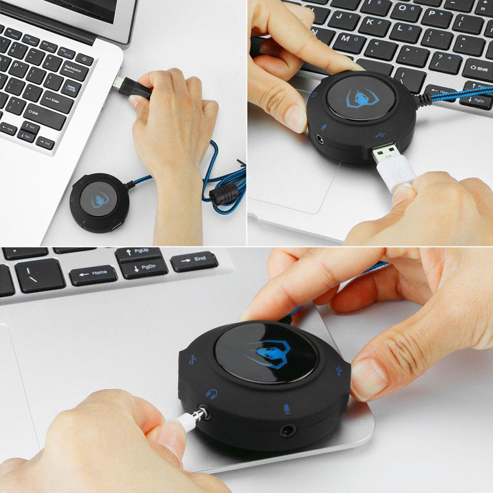 Plug-and-Play Kopfh/öRer Laptop Mikrofon GM280 Red PS4 Und USB-Treiber Mengshen USB Externe Soundkarte//USB-Audio-Adapter F/üR PC