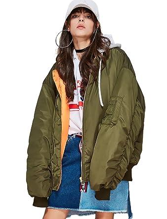 factory price 53d7b 98118 Melody Women's Fashion Hood Bomber Jacket Oversize Cotton ...