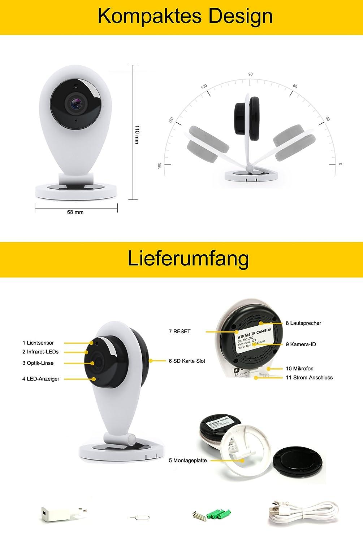 hikam S6: La cámara para una casa Segura (Cámara de seguridad con detección de persona Cámara IP HD con instrucciones en alemán Aplicación//Support): ...
