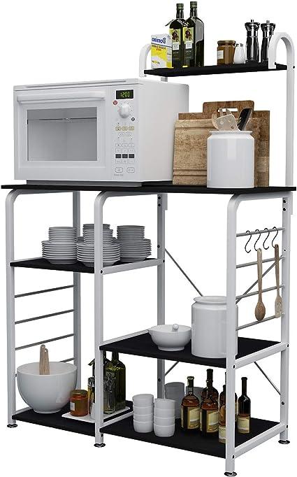 sogesfurniture Estante de Cocina Estantería para Microondas Estantería Metálica, 3 + 4 Niveles Bakers Rack Soporte para Carro de Microondas Estantes ...