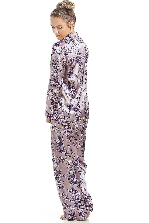 320cf57e3f29c Camille Womens Floral Print Full Length Purple Satin Pyjama Set 10:  Amazon.co.uk: Clothing