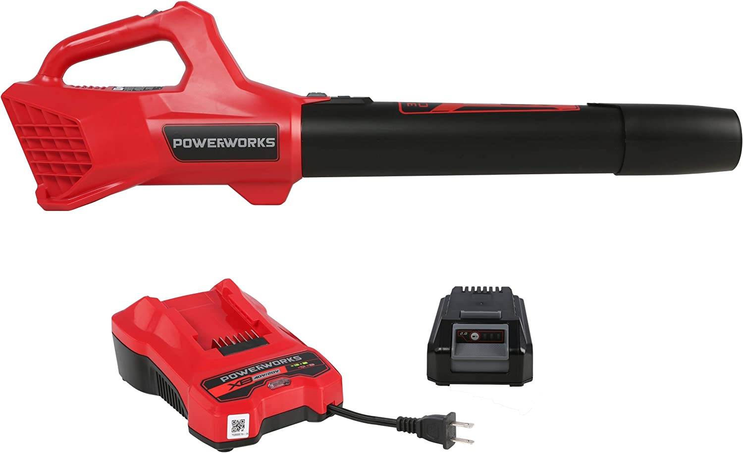 POWERWORKS XB 20VCordless Axial Leaf Blower, 85 MPH 310 CFM, 2Ah Battery and Charger Included BLP301
