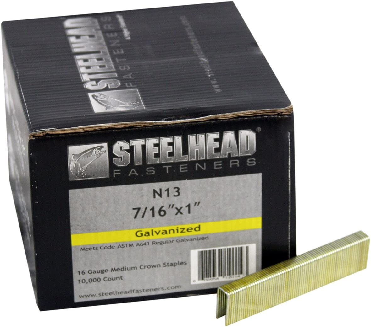 16-Gauge 1 leg 10,000-Pack Steelhead N13 Galvanized Staples 7//16 Crown