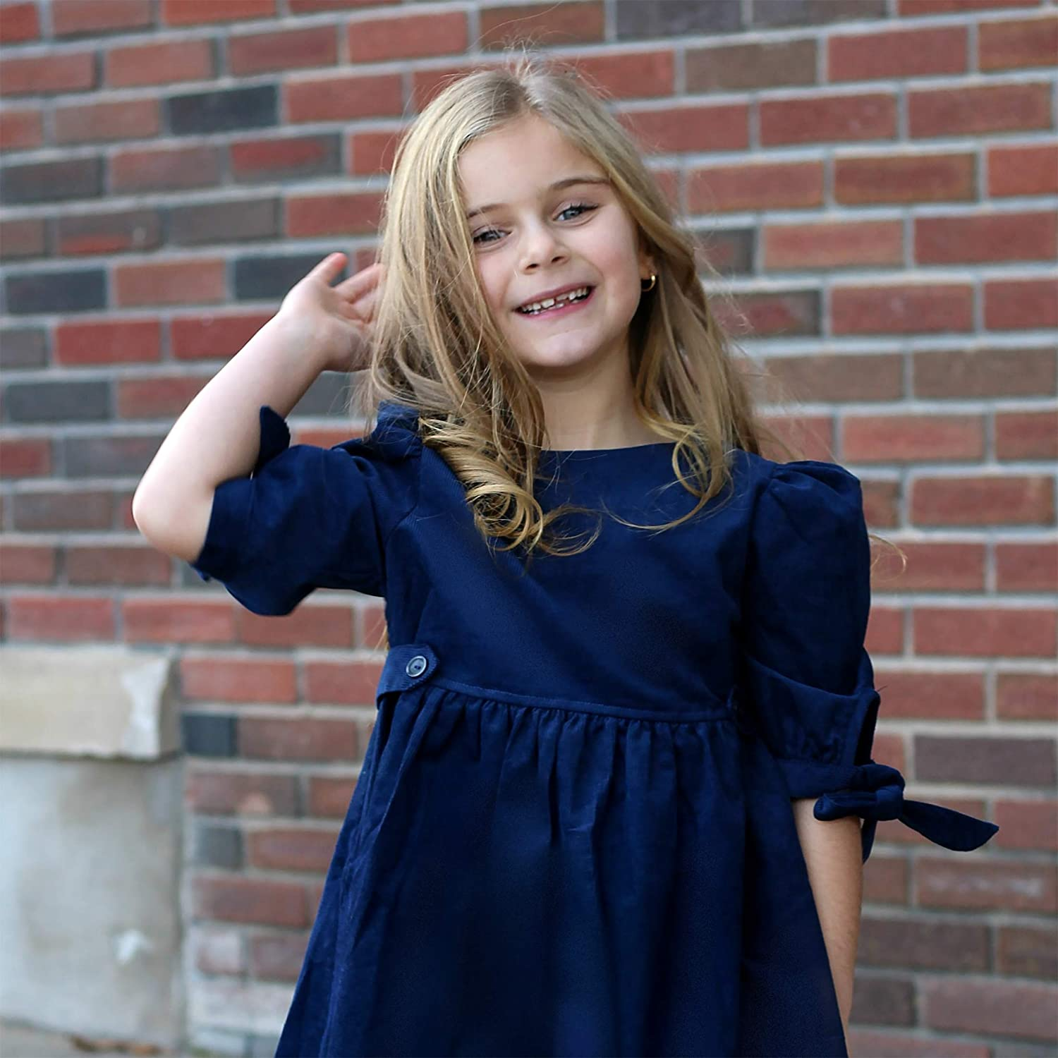 THE SILLY SISSY Toddlers Girls Winter Thistle Tie-Sleeve Corduroy Dress 2-7//8
