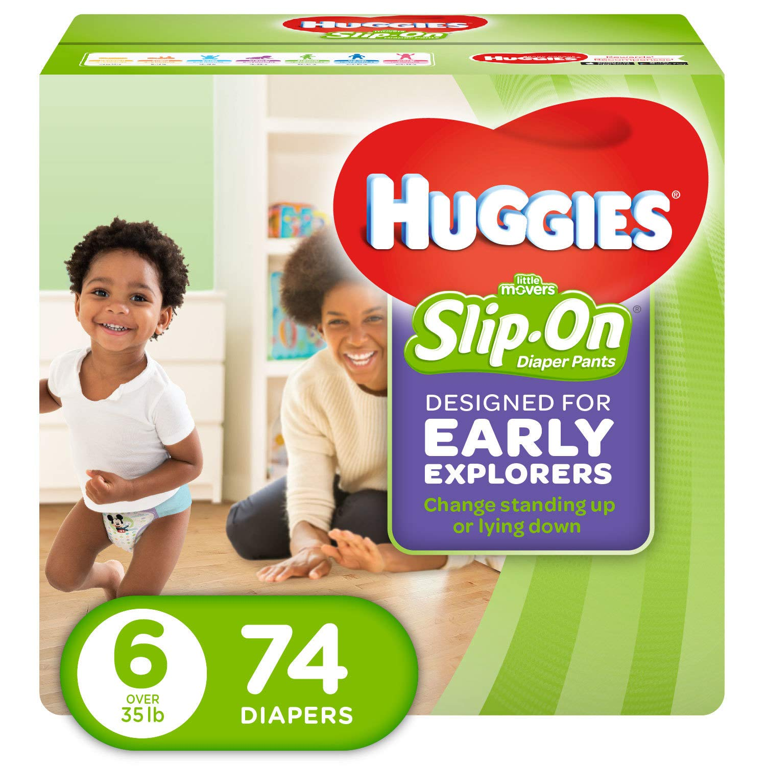 Huggies Little Movers Slip-On Diapers, Size 6, 74 Count