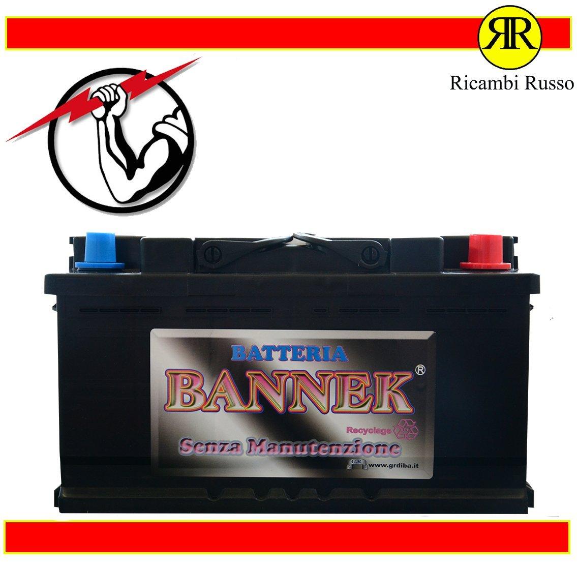BATTERIA BANNEK 100AH CORTA 780A 12V 600500 = (BOSCH 100AH 720A 0092T30320) + DX Ricambi Russo