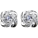 ONECK Women Earrings Studs 925 Sterling Silver Jewellery Crystal Flower Earrings with Exquisite Jewellery Gift Box