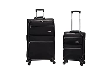 abe3a8222 Amazon.com | Rockland Gravity 2 Pc Light Weight Luggage Set, Black ...