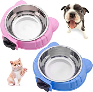 Hamiledyi 2PCS Crate Dog Bowl Pet Cage Bowl Removable Water Food Feeder Bowls with Bolt Holder Stainless Steel HangingSuitable for Small Pet Dog Cat Bird