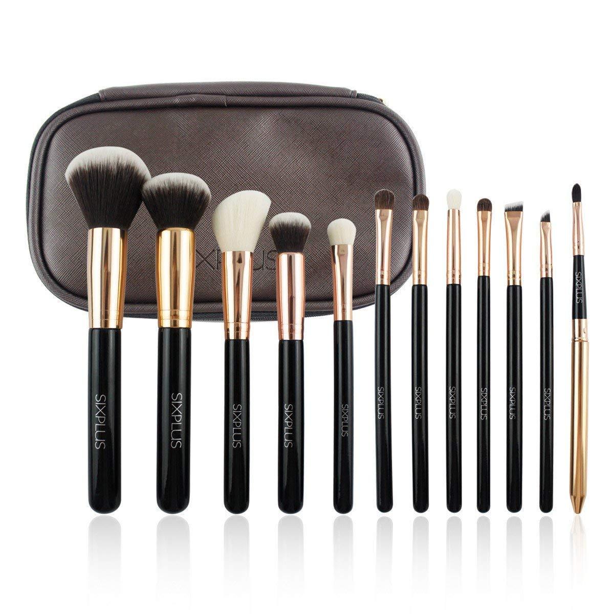 SIXPLUS 12pcs Professionelles Make Up Pinsel Set, Schminkpinsel, Pinselset Kosmetik, mit Große Kapazität Kosmetiktasche (Schwarz)