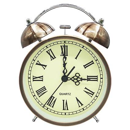 COOJA Vintage Reloj Despertador de Doble Campana con Sonido Fuerte, Alarma Despertador sin Tic TAC