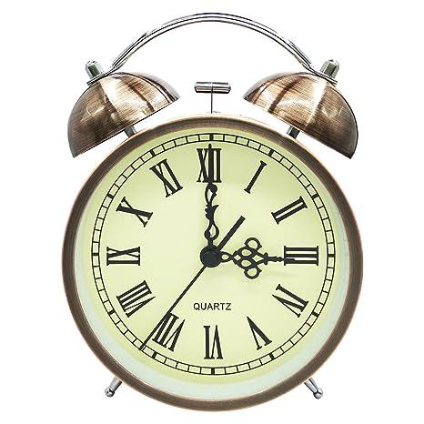 COOJA Vintage Reloj Despertador de Doble Campana con Sonido Fuerte, Alarma Despertador sin Tic TAC Silencioso Analogico Despertadores de Viaje para ...