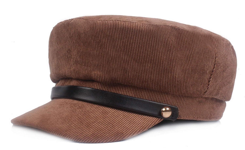 Brcus Women Cotton Yacht Captain Sailor Hat Newsboy Baker Boy Peaked Beret Cap
