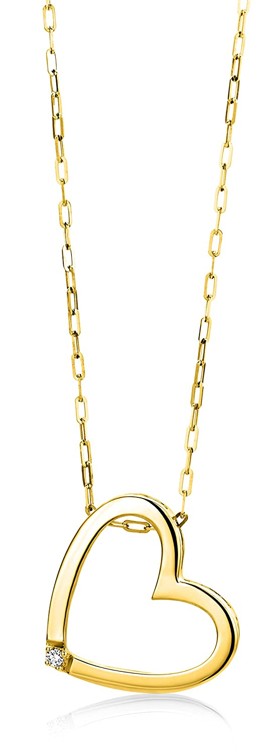 Miore 9 kt Yellow Gold Necklace with Round Brilliant (0.01ct) on Heart Pendant on 42cm Belcher Chain for Women gUfJO8