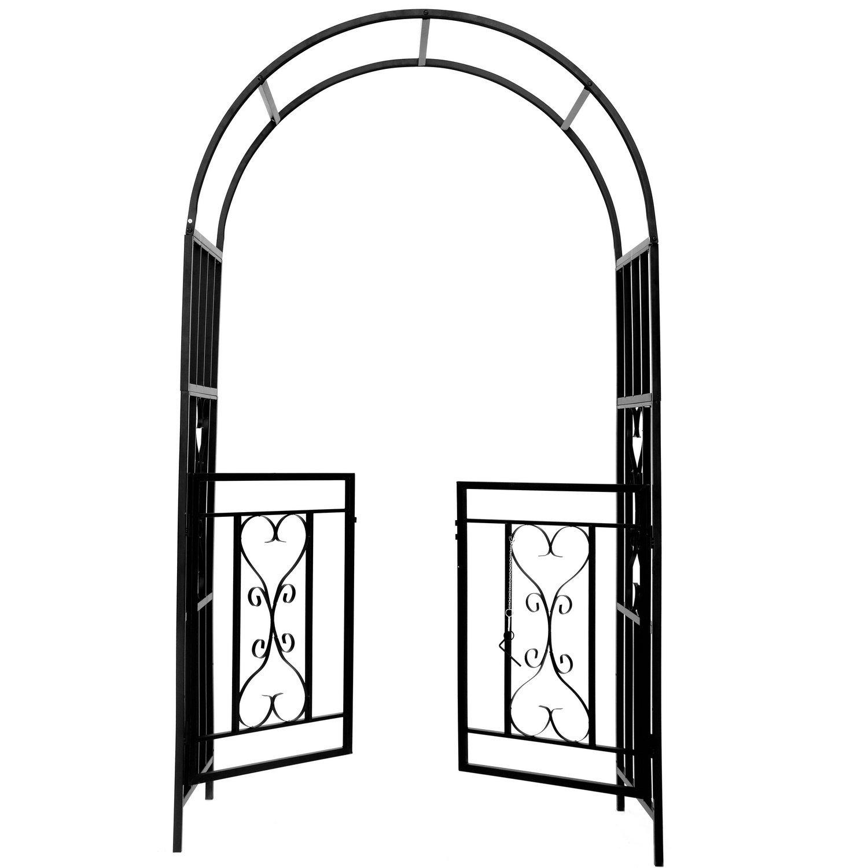 1. GO Steel Garden Arch with Gate, 6'7'' High x 3'7'' Wide, Garden Arbor for Various Climbing Plant, Outdoor Garden Lawn Backyard by 1. GO (Image #2)
