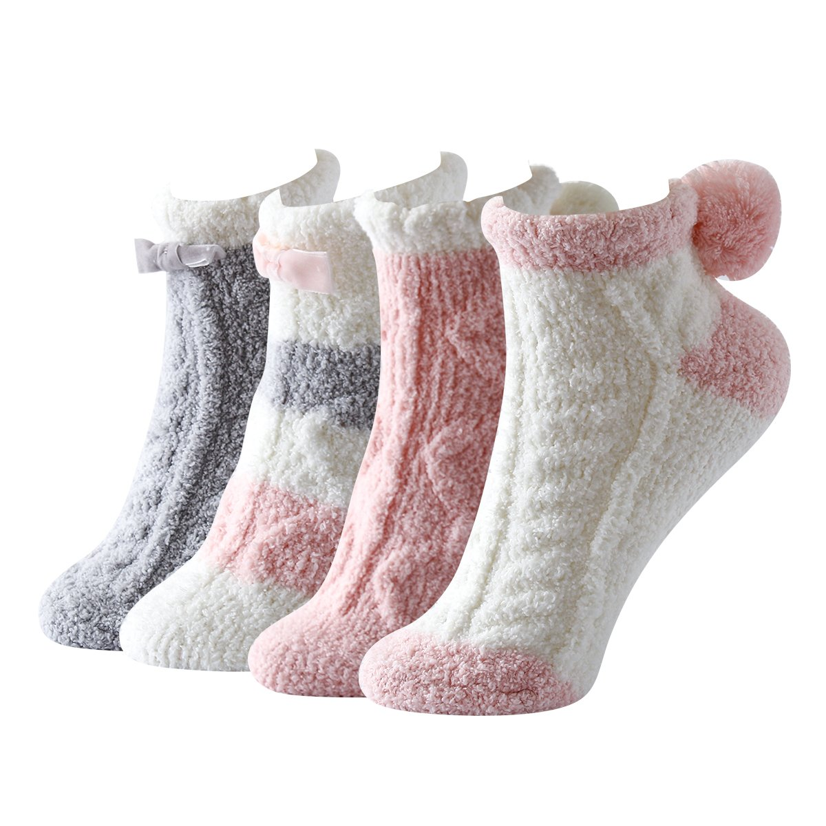 Skola Soft Cozy Warm Slipper Socks Womens Non Skid Grip Fuzzy 4 (Pink series)