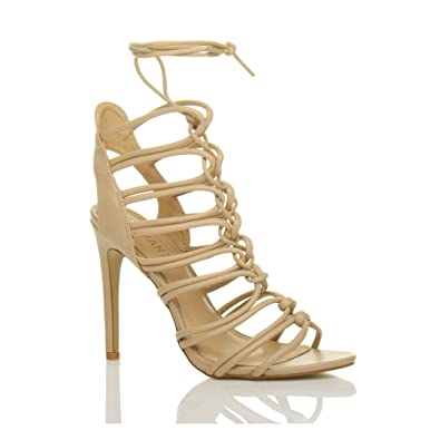 a946185de7b079 Ajvani Womens Ladies high Heel Strappy Lace up Cut Out Ghillie Sandals Shoes  Size 3 36