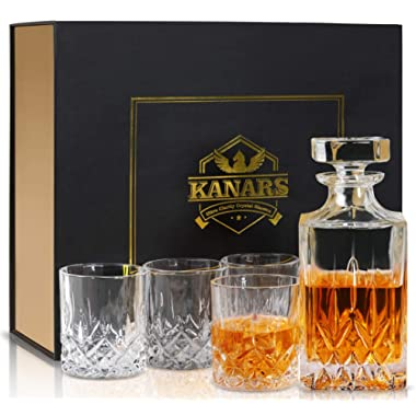 KANARS Whiskey Decanter And Glass Set In Unique Luxury Gift Box - Original Crystal Liquor Decanter Set For Bourbon, Scotch or Whisky, 5-Piece