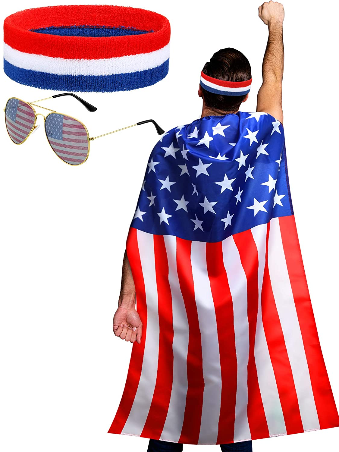 American Flag Costume Cape, Retro 80's American USA Sunglasses and USA Flag Headband for 4th of July Independence Day Celebration : Beauty