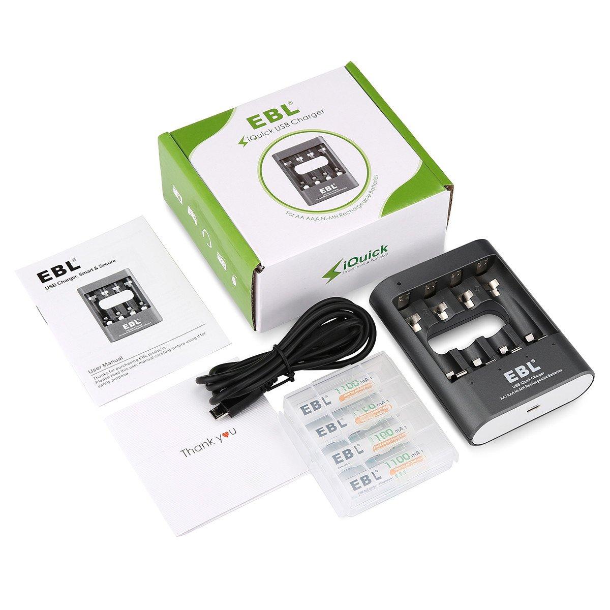 EBL iQuick Charger Cargador de Baterías para 1~4 Ni-MH Pilas de AA AAA Recargebles