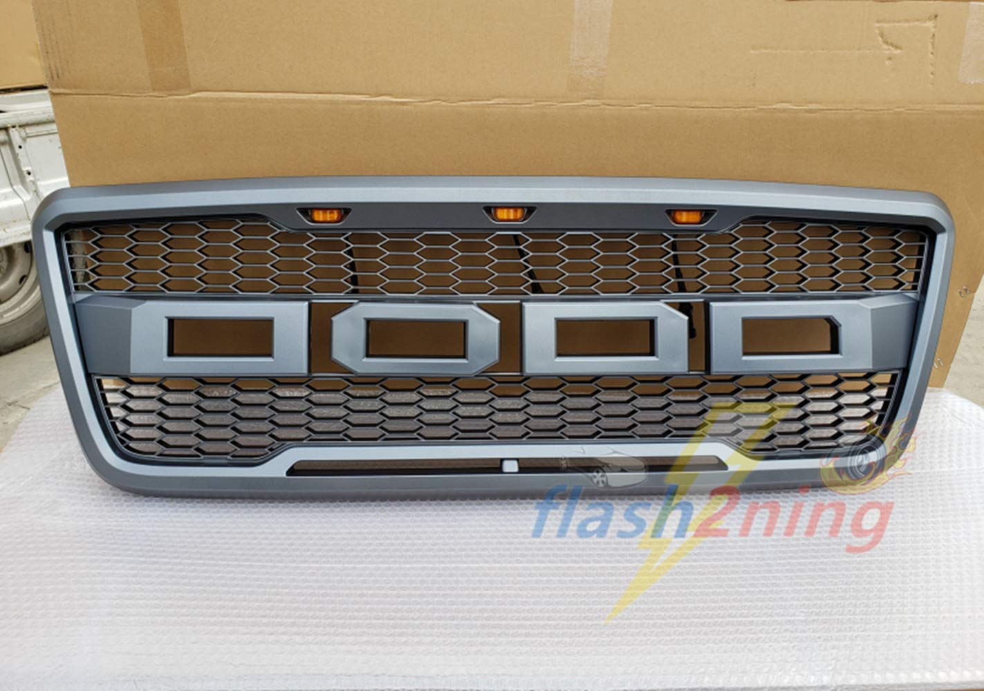 with 3 LED Amber Lights and F/&R Letters Matte Gray Mesh Replacement Grill For 2004 2005 2006 2007 2008 Ford F150 Raptor Style Gray Front Grille Honeycomb Bumper