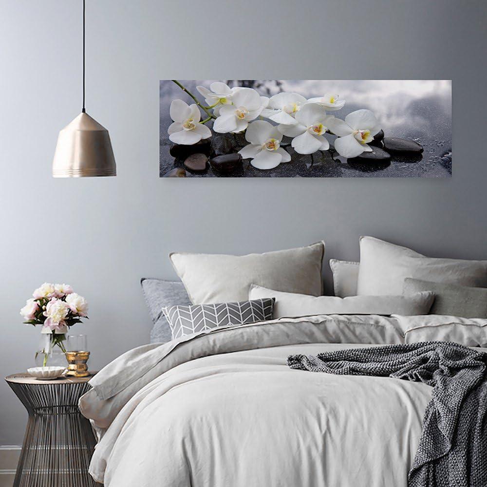 Blanc ORCHID/ÉE Feeby D/écoration Murale Zen Image imprim/ée 100x50 cm Tableau D/éco Deco Panel Panoramique